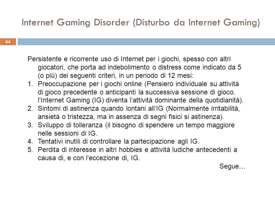 Internet Gaming Disorder (Disturbo da Internet Gaming)