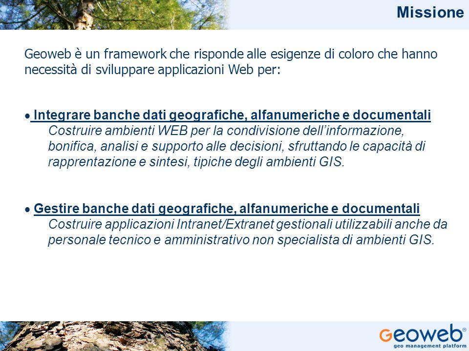 Missione Geoweb è un framework che risponde alle esigenze di coloro che hanno necessità di sviluppare applicazioni Web per: