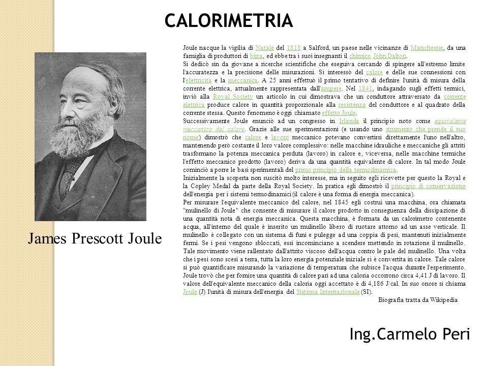 CALORIMETRIA James Prescott Joule Ing.Carmelo Peri
