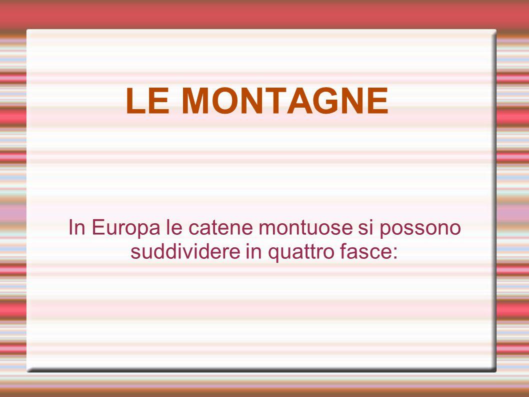 In Europa le catene montuose si possono suddividere in quattro fasce: