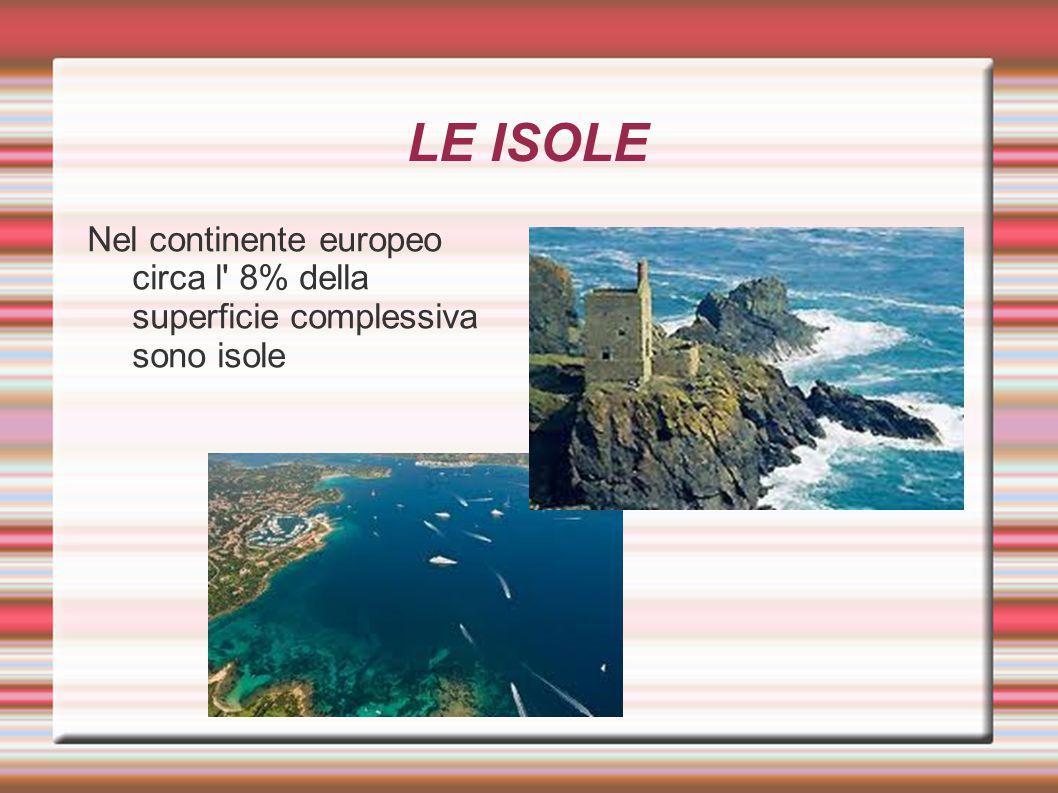 LE ISOLE Nel continente europeo circa l 8% della superficie complessiva sono isole