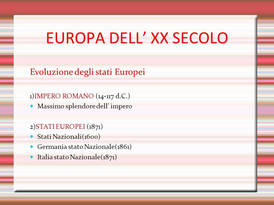 EUROPA DELL' XX SECOLO Evoluzione degli stati Europei