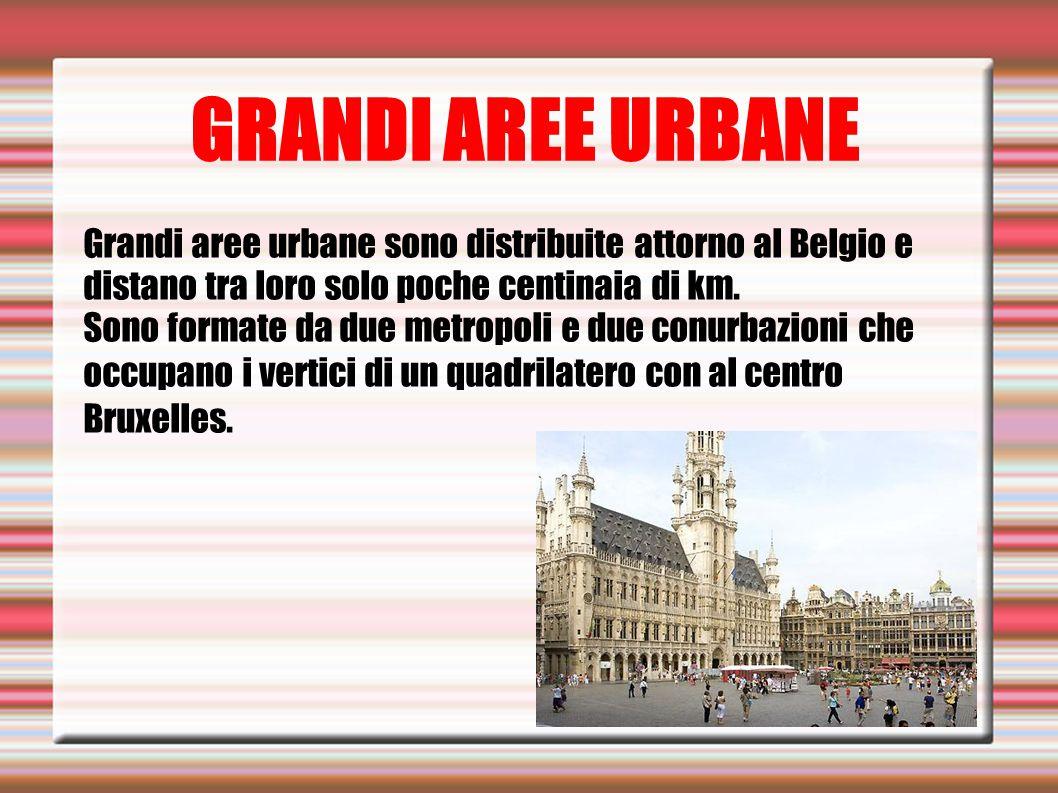 GRANDI AREE URBANE Grandi aree urbane sono distribuite attorno al Belgio e distano tra loro solo poche centinaia di km.