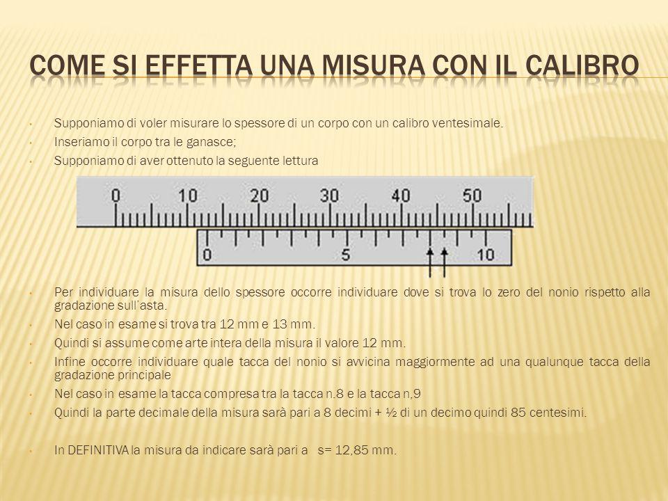 Come si effetta una misura con il calibro