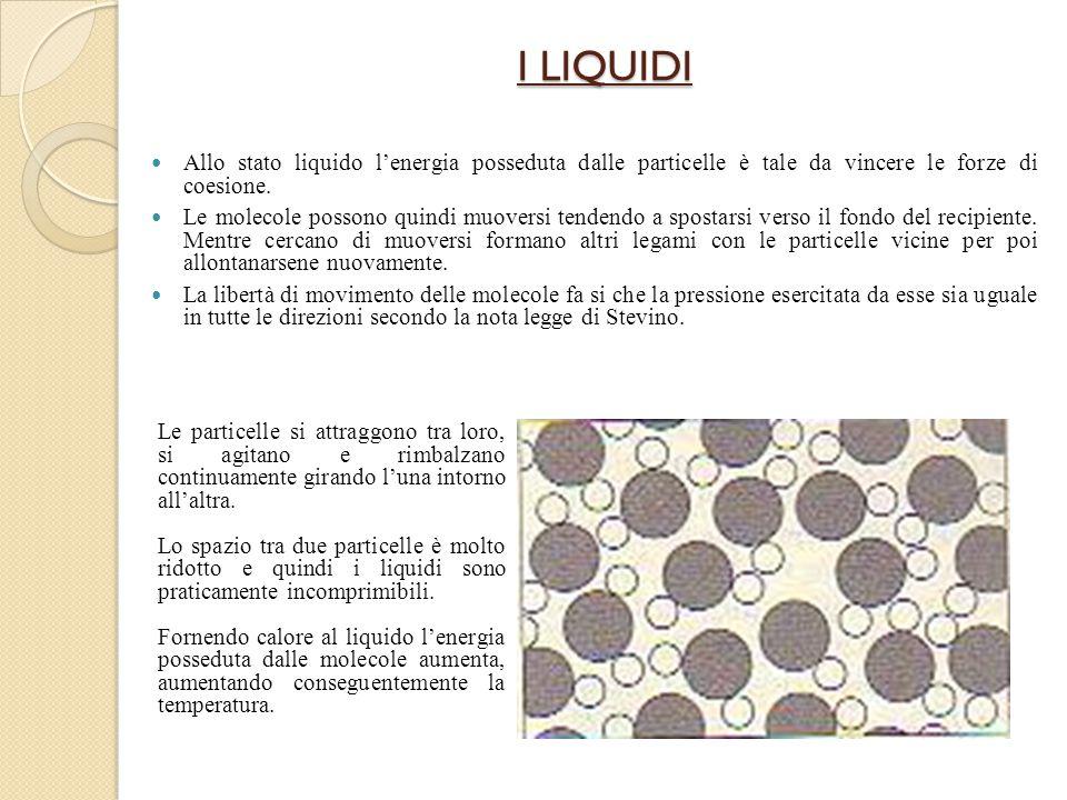 I LIQUIDI Allo stato liquido l'energia posseduta dalle particelle è tale da vincere le forze di coesione.