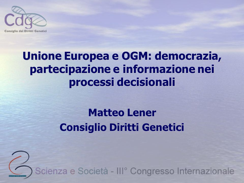 Consiglio Diritti Genetici