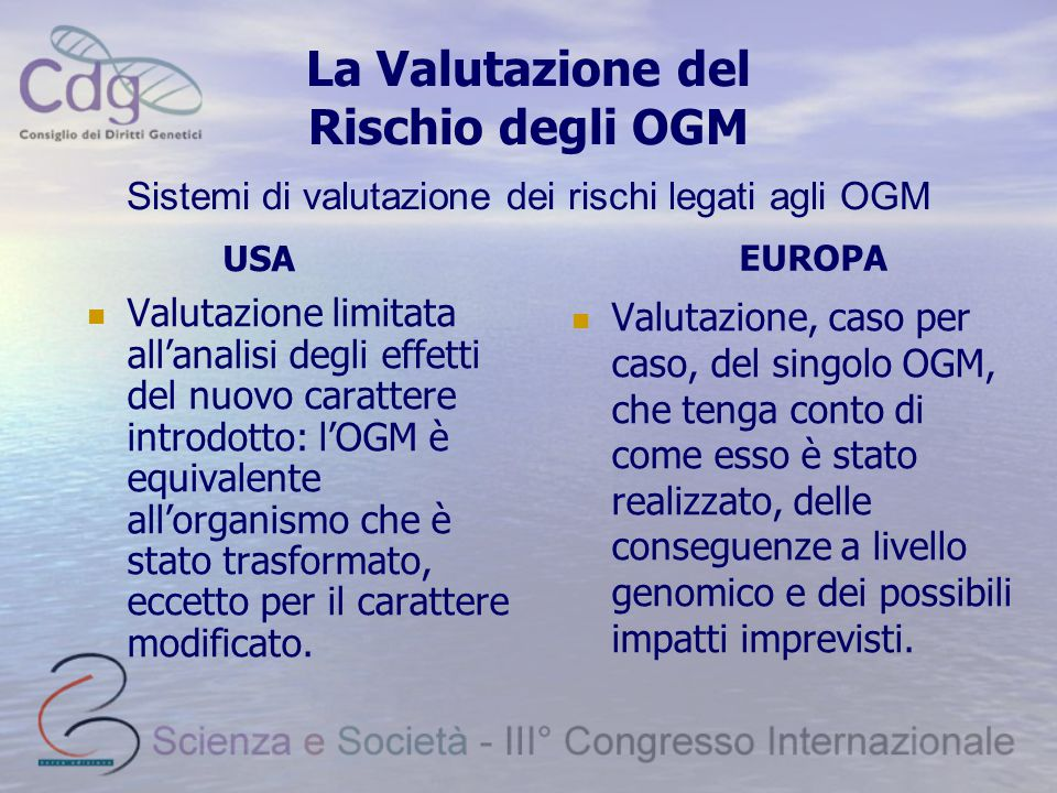 La Valutazione del Rischio degli OGM