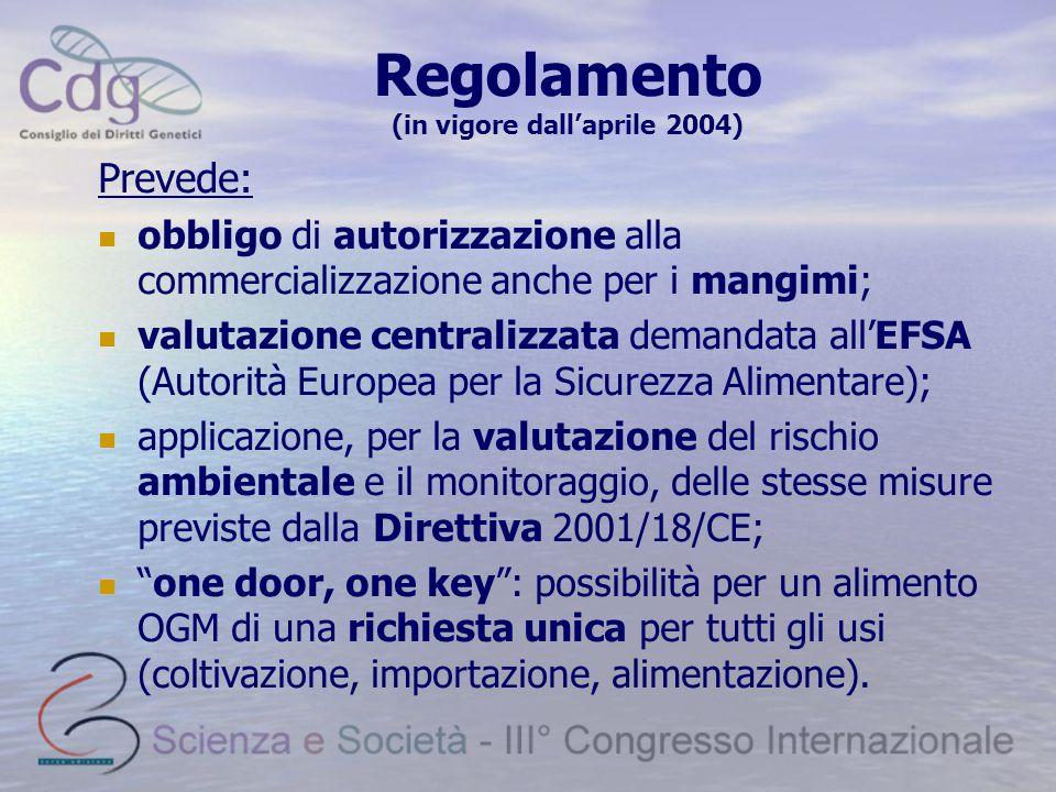 Regolamento (in vigore dall'aprile 2004)