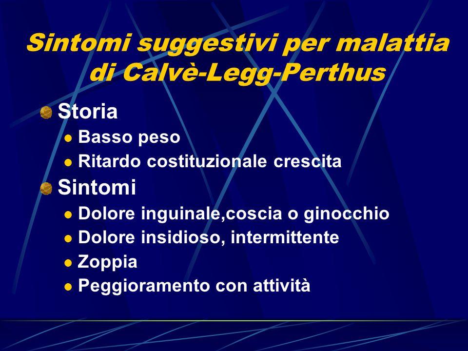 Sintomi suggestivi per malattia di Calvè-Legg-Perthus