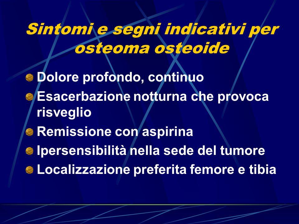 Sintomi e segni indicativi per osteoma osteoide