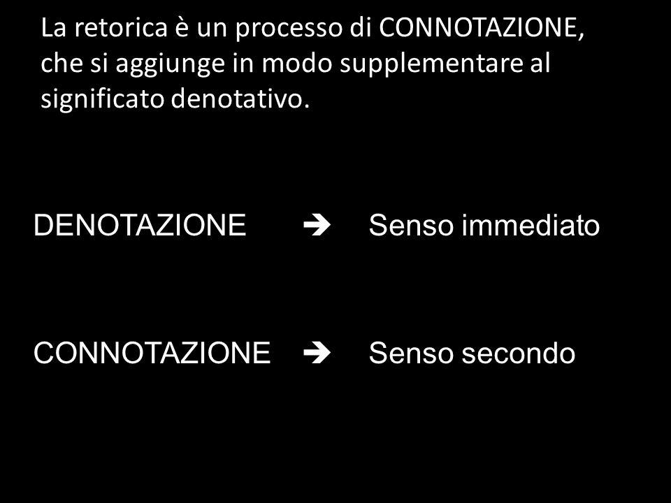 La retorica è un processo di CONNOTAZIONE, che si aggiunge in modo supplementare al significato denotativo.