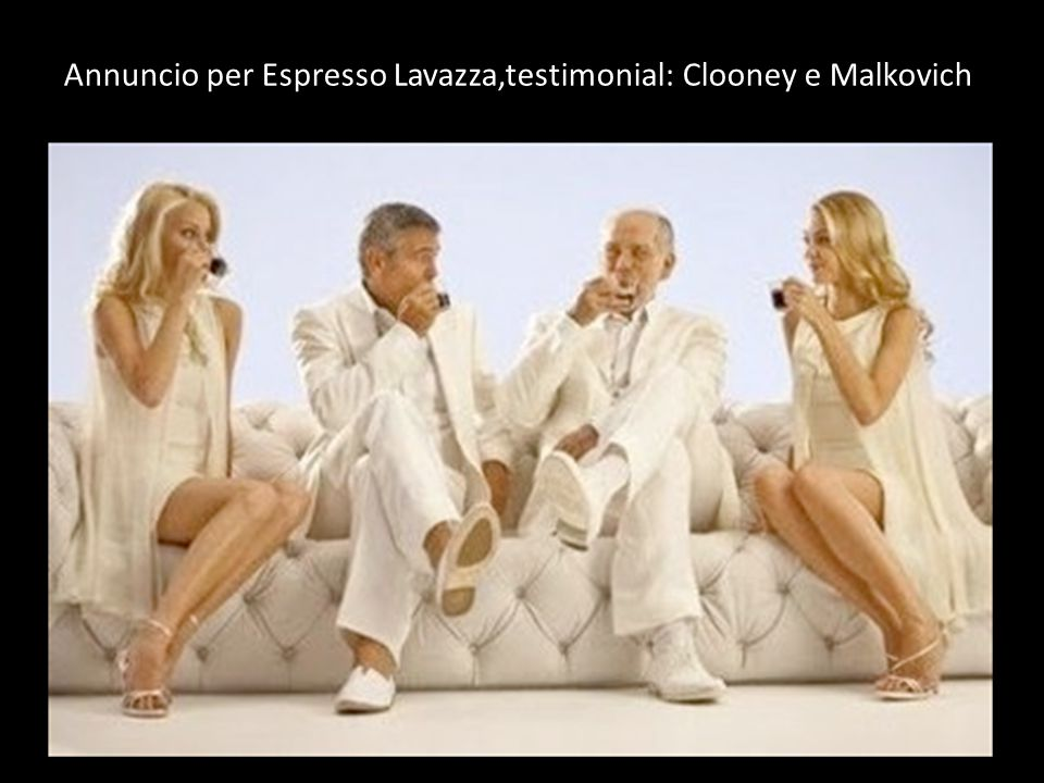 Annuncio per Espresso Lavazza,testimonial: Clooney e Malkovich