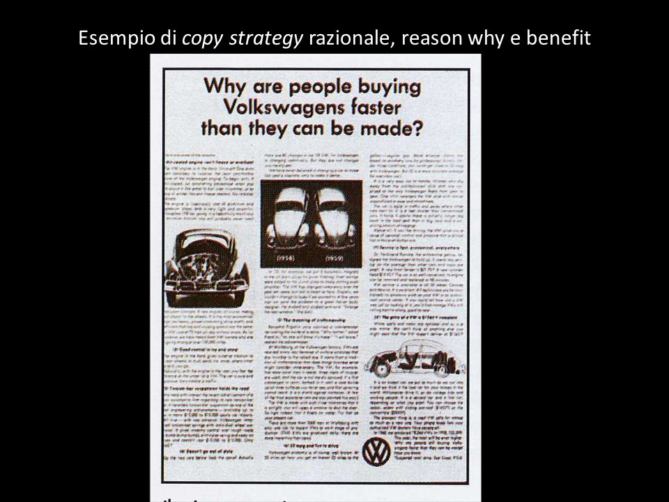 Esempio di copy strategy razionale, reason why e benefit