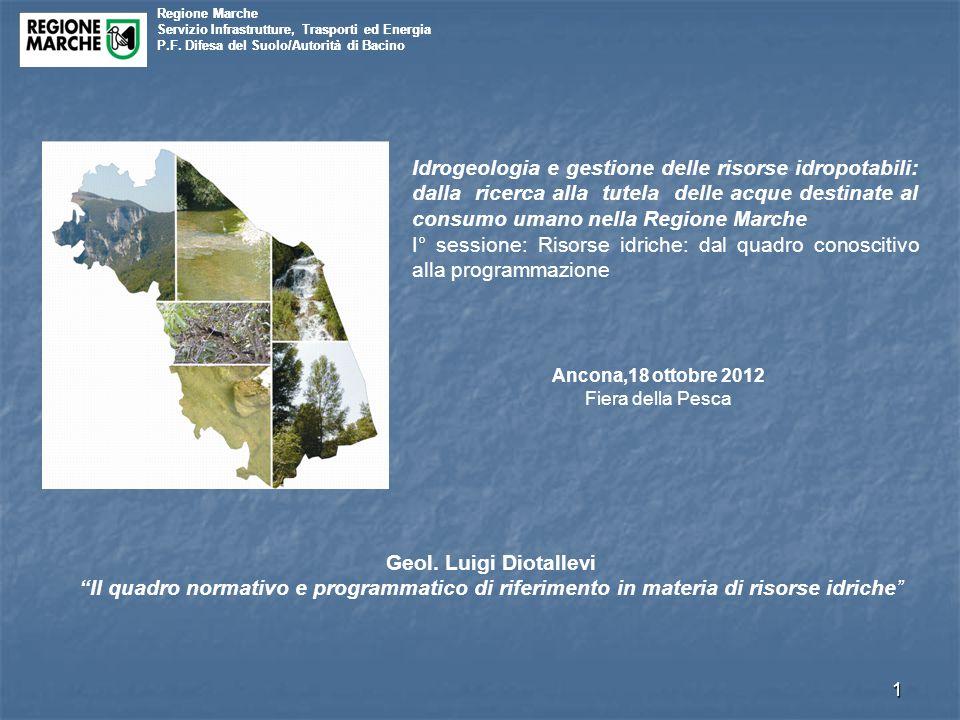 Regione Marche Servizio Infrastrutture, Trasporti ed Energia. P.F. Difesa del Suolo/Autorità di Bacino.