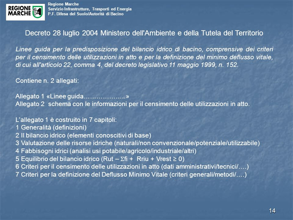 Decreto 28 luglio 2004 Ministero dell Ambiente e della Tutela del Territorio