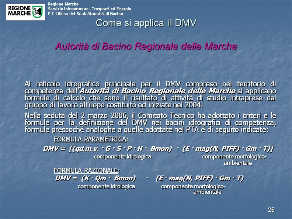 Come si applica il DMV Autorità di Bacino Regionale delle Marche
