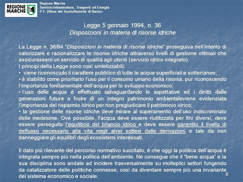 Disposizioni in materia di risorse idriche