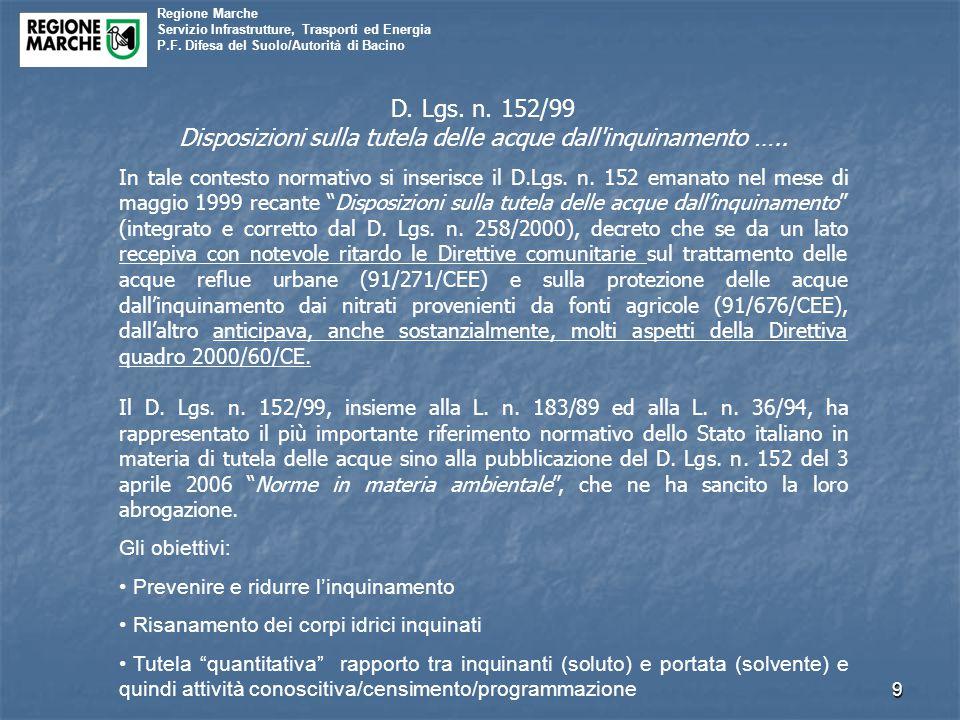 Disposizioni sulla tutela delle acque dall inquinamento …..