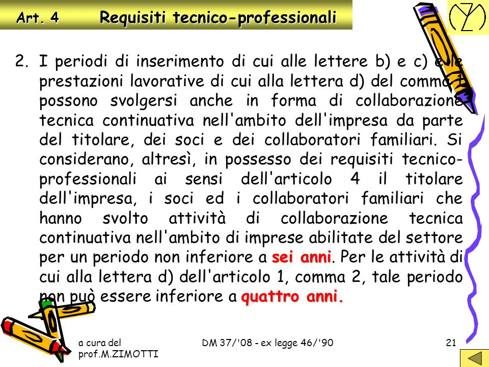 Art. 4 Requisiti tecnico-professionali