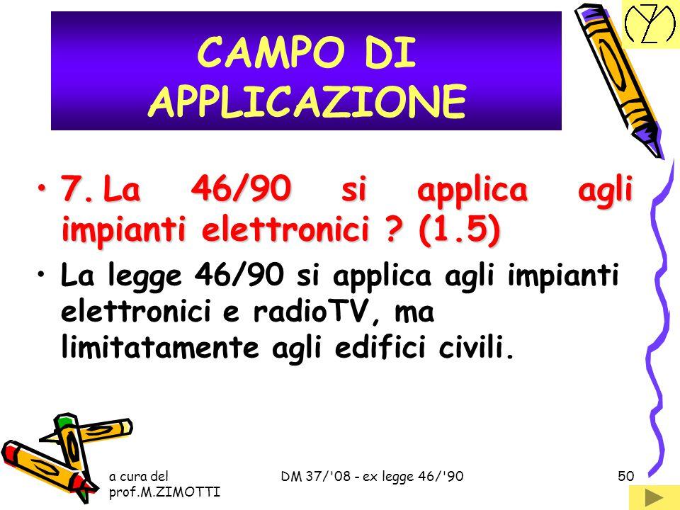 CAMPO DI APPLICAZIONE 7. La 46/90 si applica agli impianti elettronici (1.5)