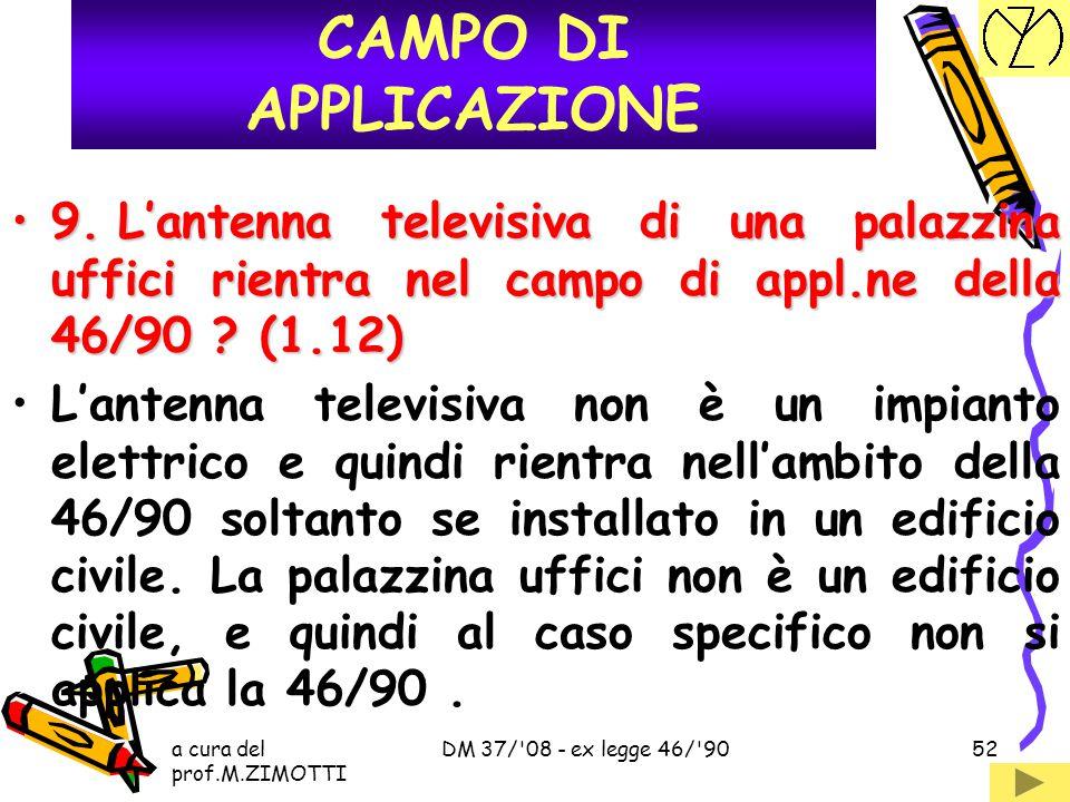 CAMPO DI APPLICAZIONE 9. L'antenna televisiva di una palazzina uffici rientra nel campo di appl.ne della 46/90 (1.12)