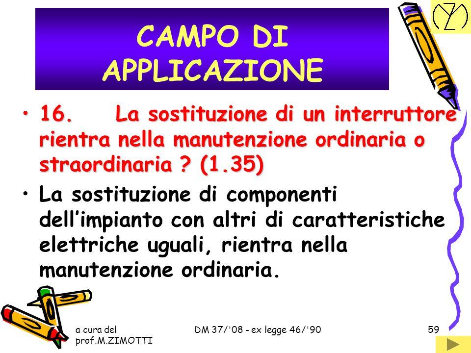 CAMPO DI APPLICAZIONE 16. La sostituzione di un interruttore rientra nella manutenzione ordinaria o straordinaria (1.35)