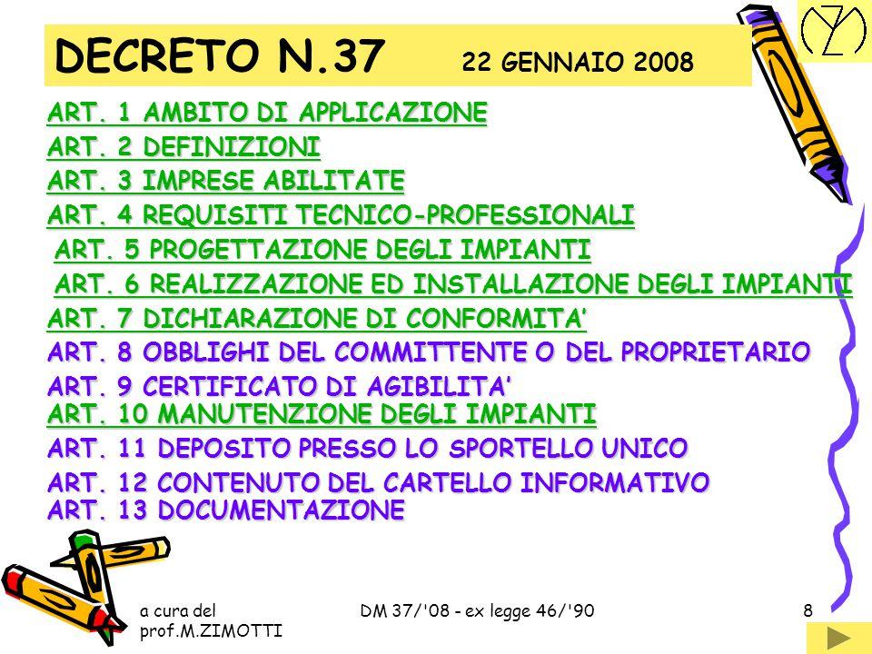 DECRETO N.37 22 GENNAIO 2008 ART. 1 AMBITO DI APPLICAZIONE