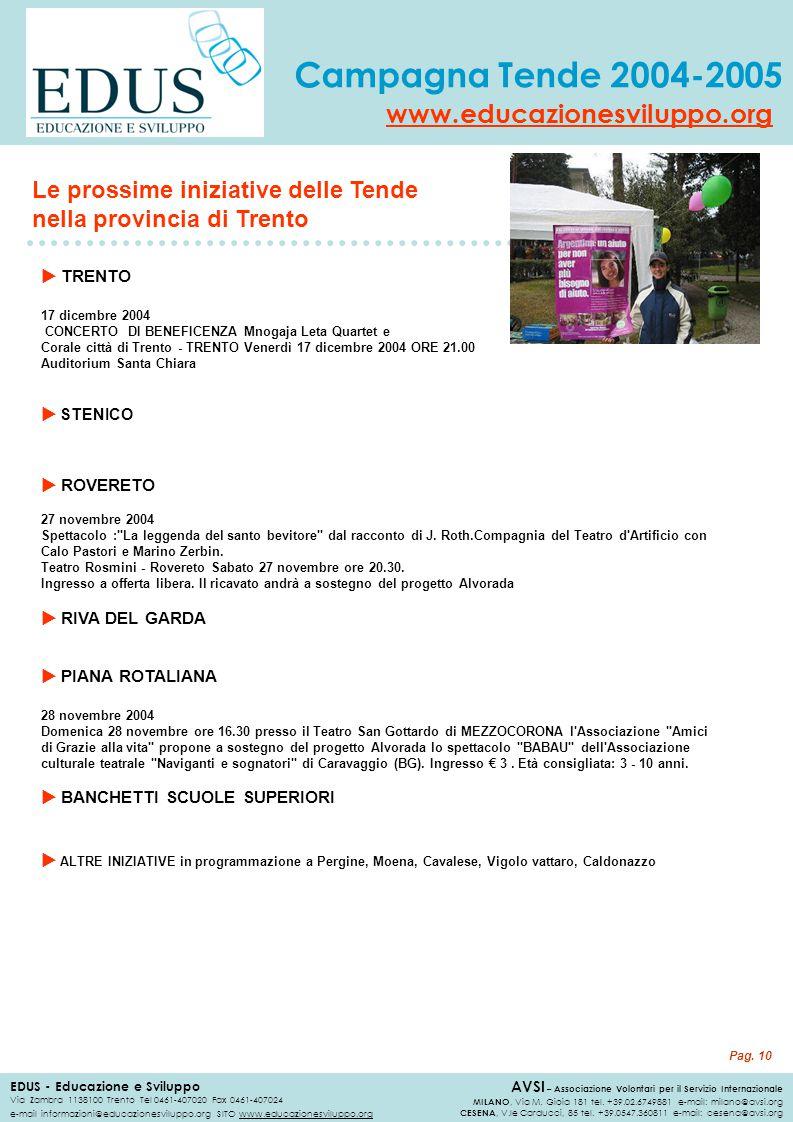 Le prossime iniziative delle Tende nella provincia di Trento