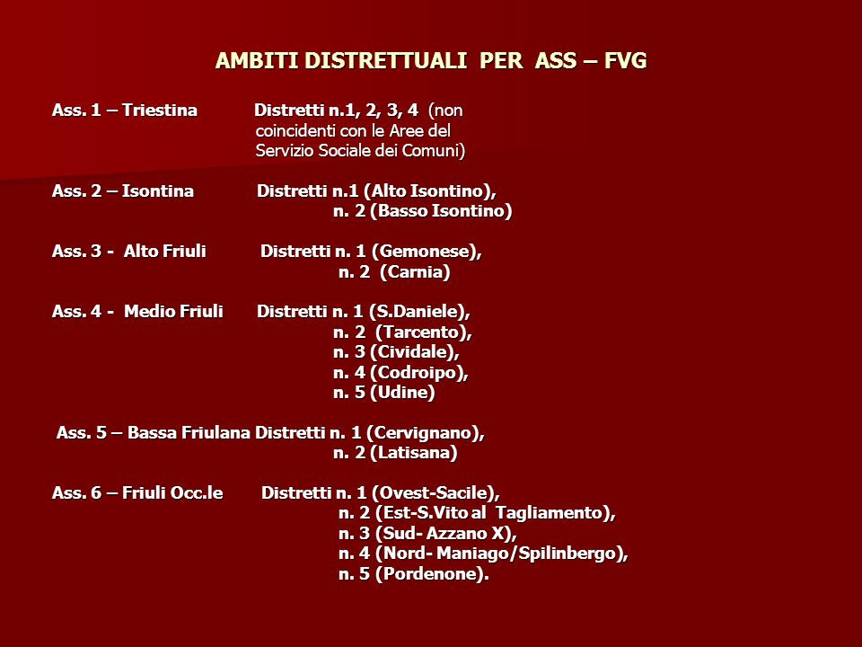 AMBITI DISTRETTUALI PER ASS – FVG