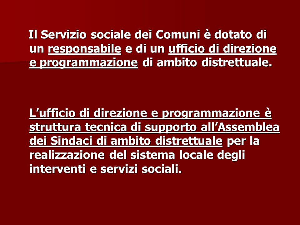 Il Servizio sociale dei Comuni è dotato di un responsabile e di un ufficio di direzione e programmazione di ambito distrettuale.