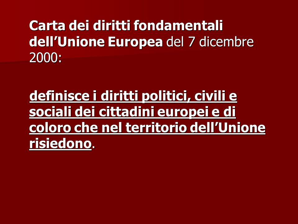 Carta dei diritti fondamentali dell'Unione Europea del 7 dicembre 2000: