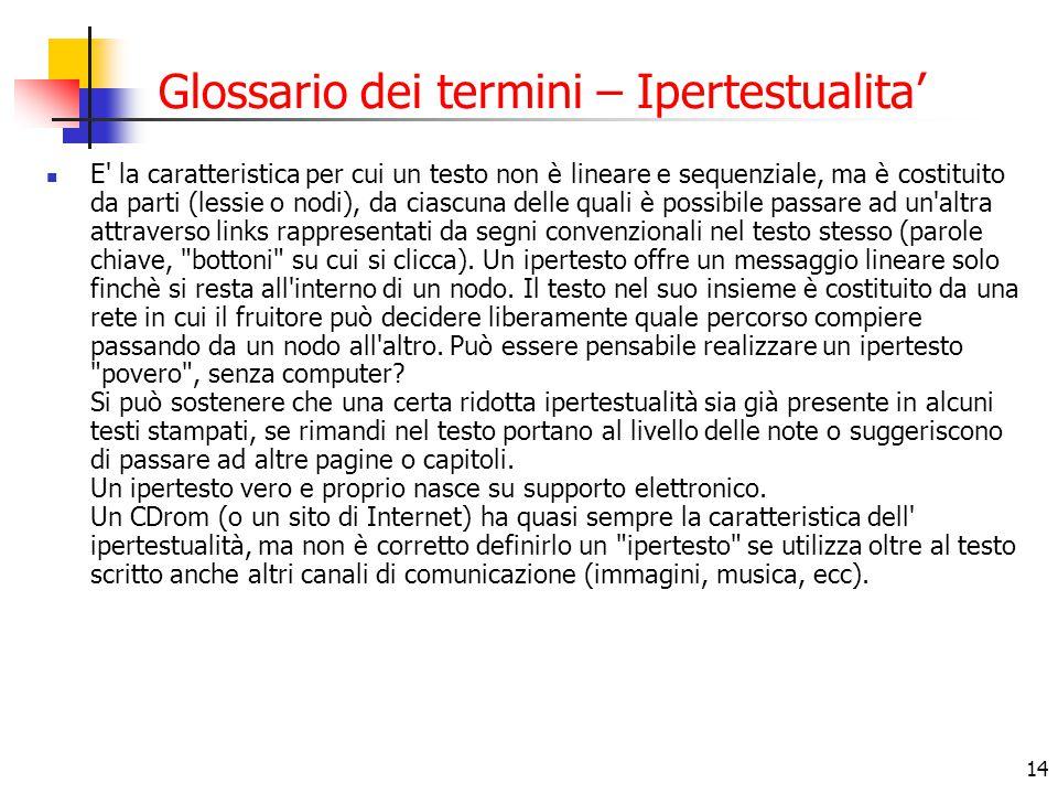 Glossario dei termini – Ipertestualita'