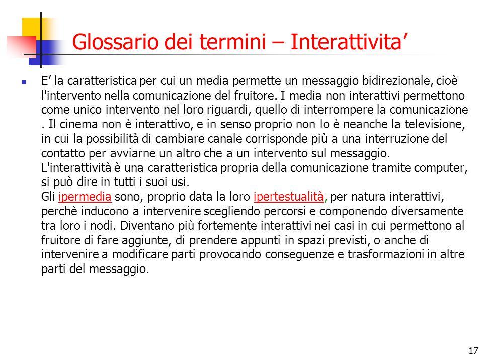 Glossario dei termini – Interattivita'