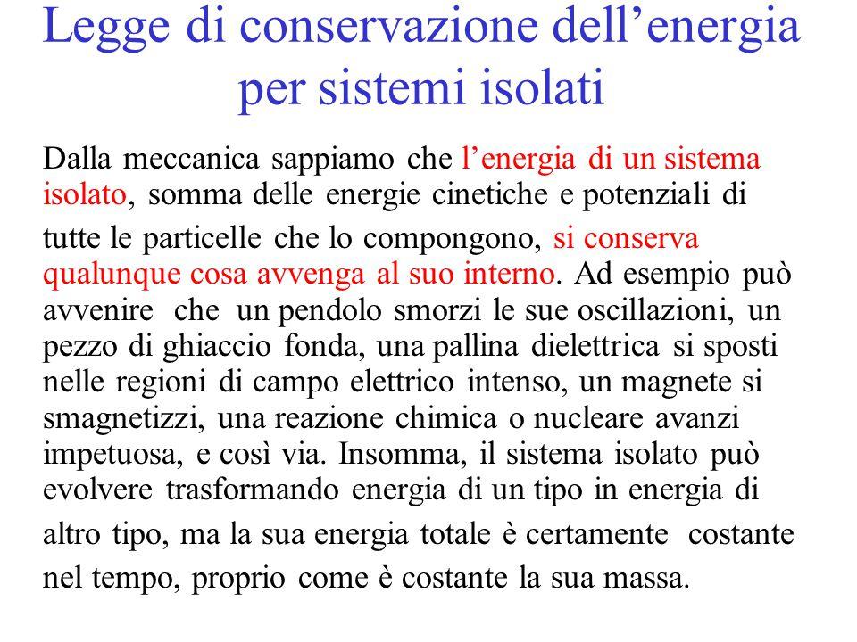 Legge di conservazione dell'energia per sistemi isolati