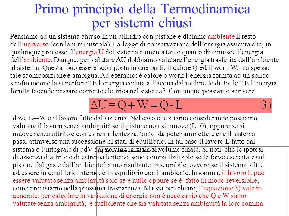 Primo principio della Termodinamica per sistemi chiusi