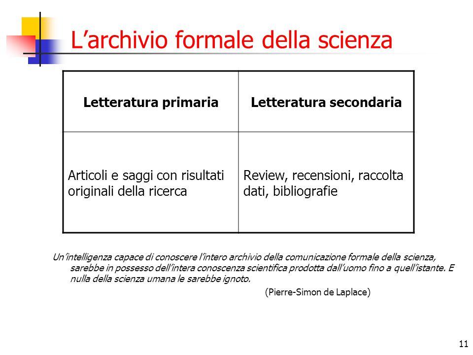 L'archivio formale della scienza