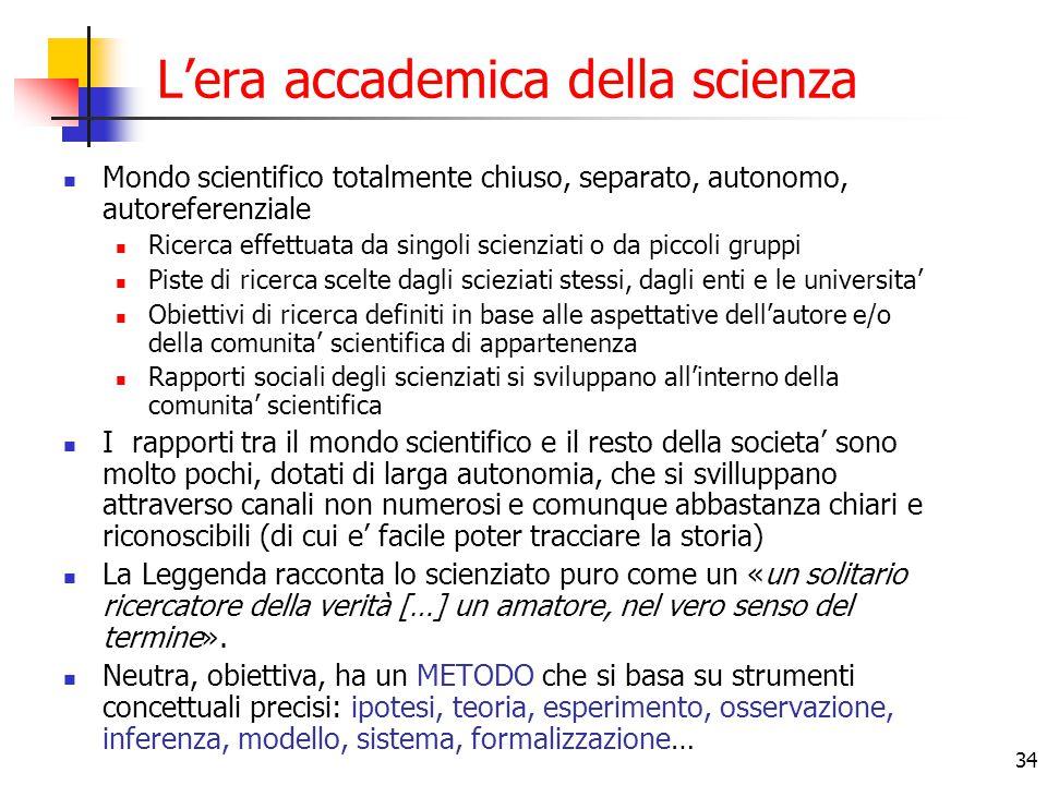L'era accademica della scienza