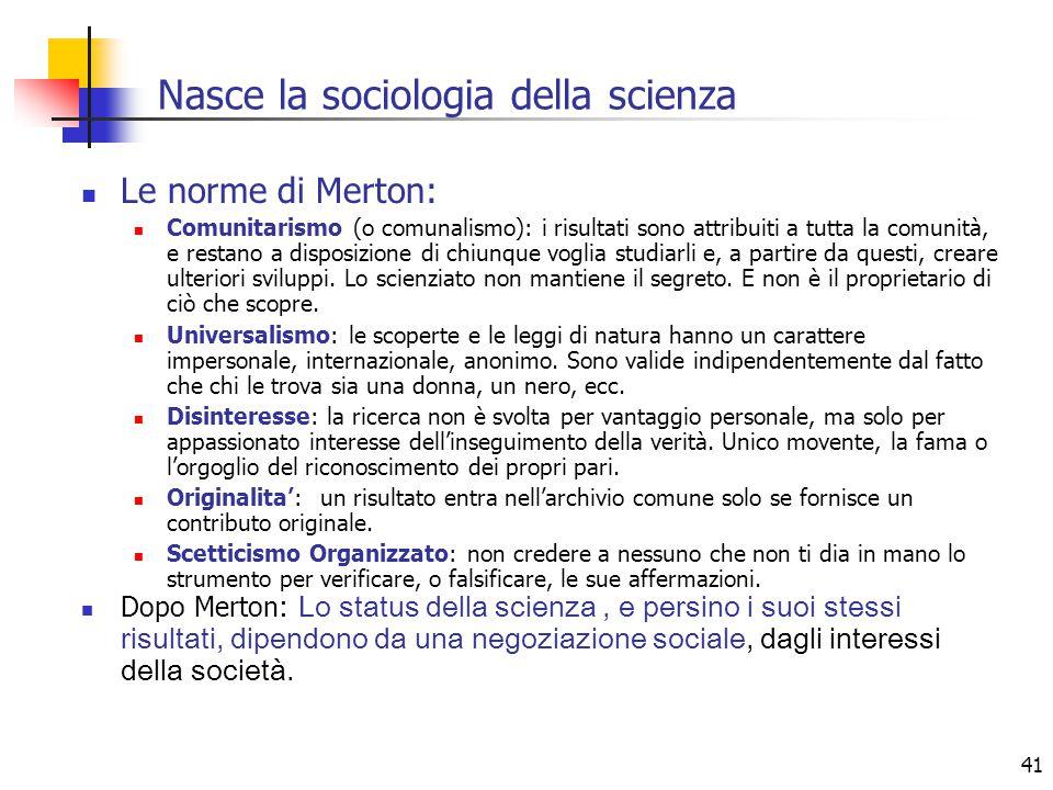 Nasce la sociologia della scienza