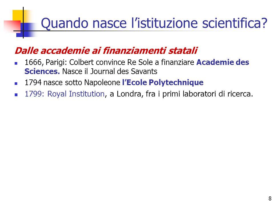 Quando nasce l'istituzione scientifica