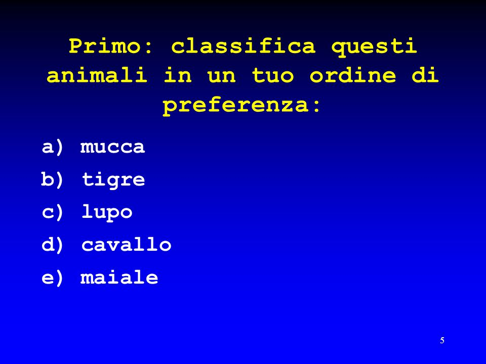 Primo: classifica questi animali in un tuo ordine di preferenza: