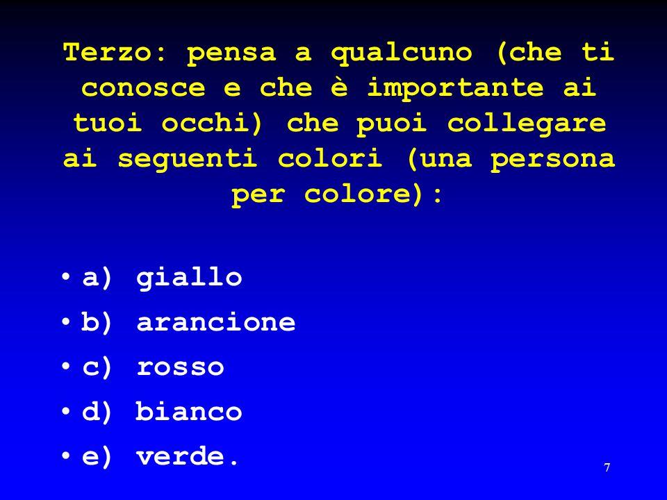 Terzo: pensa a qualcuno (che ti conosce e che è importante ai tuoi occhi) che puoi collegare ai seguenti colori (una persona per colore):