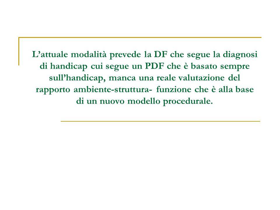 L'attuale modalità prevede la DF che segue la diagnosi di handicap cui segue un PDF che è basato sempre sull'handicap, manca una reale valutazione del rapporto ambiente-struttura- funzione che è alla base di un nuovo modello procedurale.