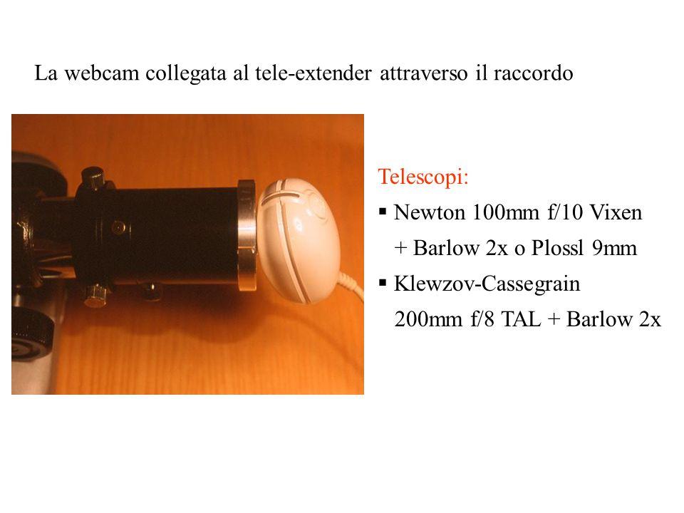 La webcam collegata al tele-extender attraverso il raccordo