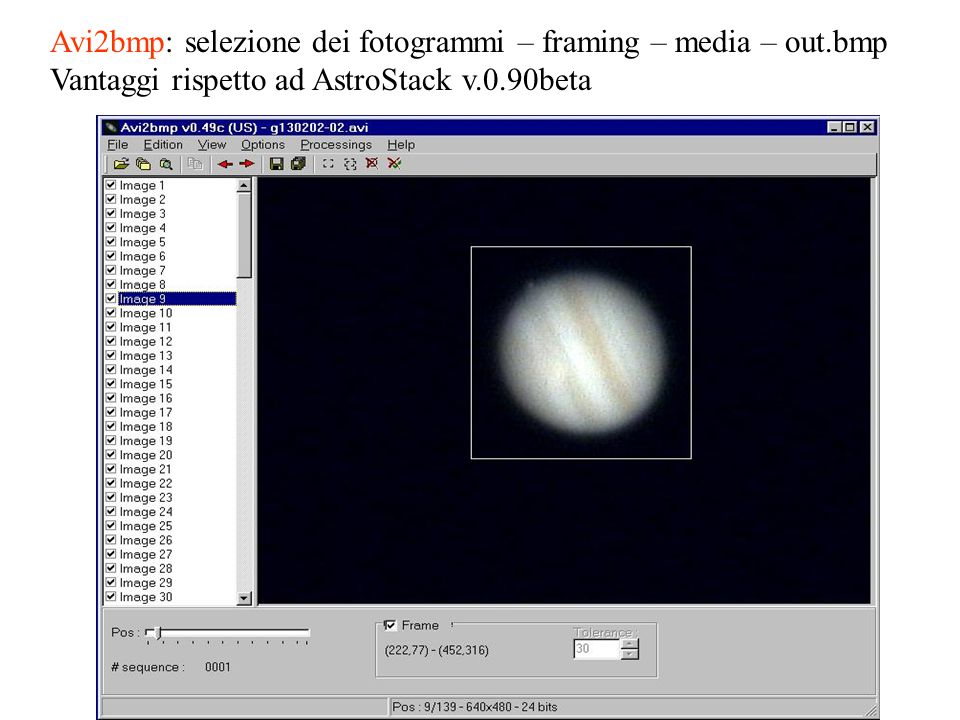 Avi2bmp: selezione dei fotogrammi – framing – media – out.bmp