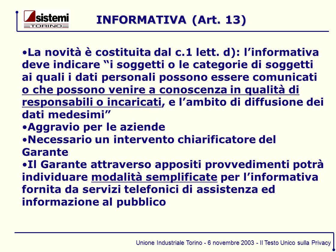 INFORMATIVA (Art. 13)