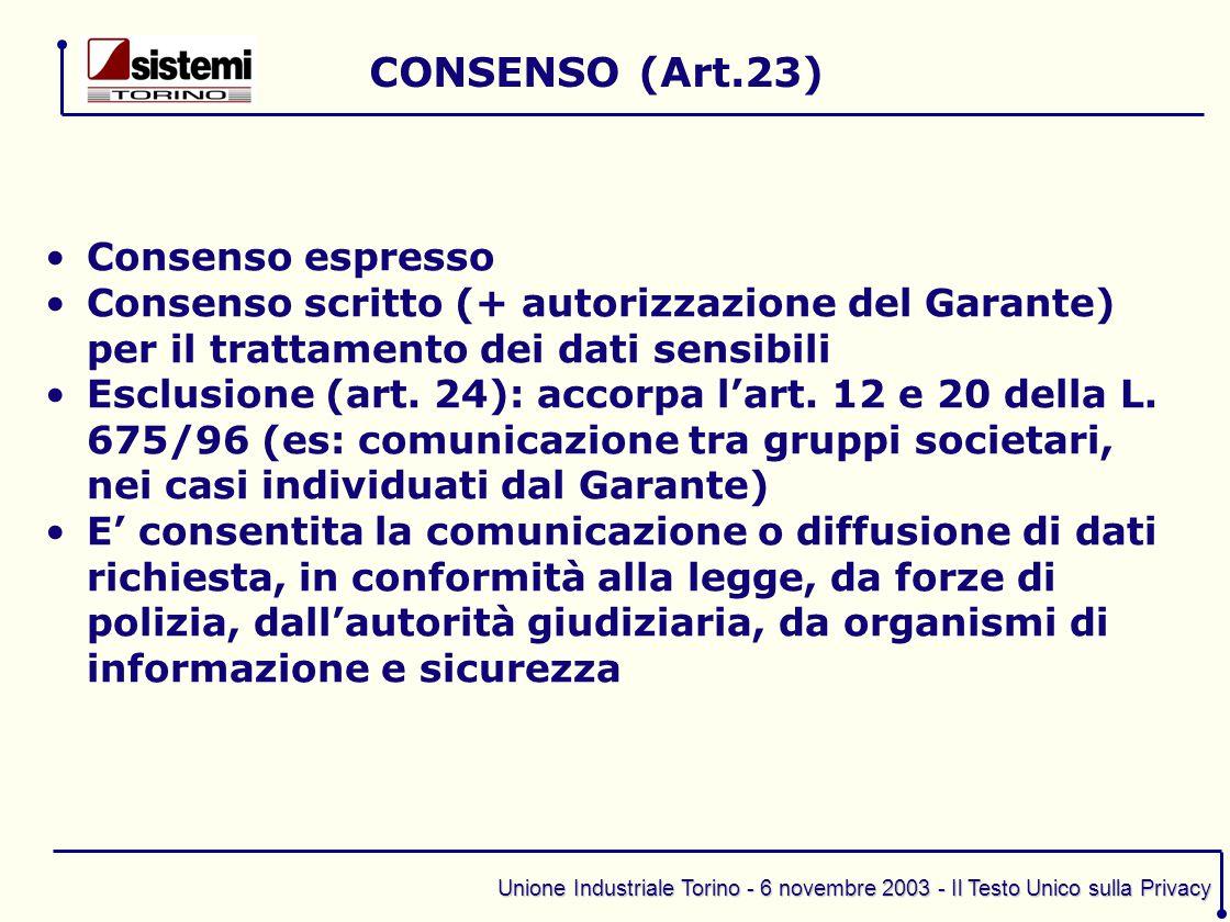 CONSENSO (Art.23) Consenso espresso