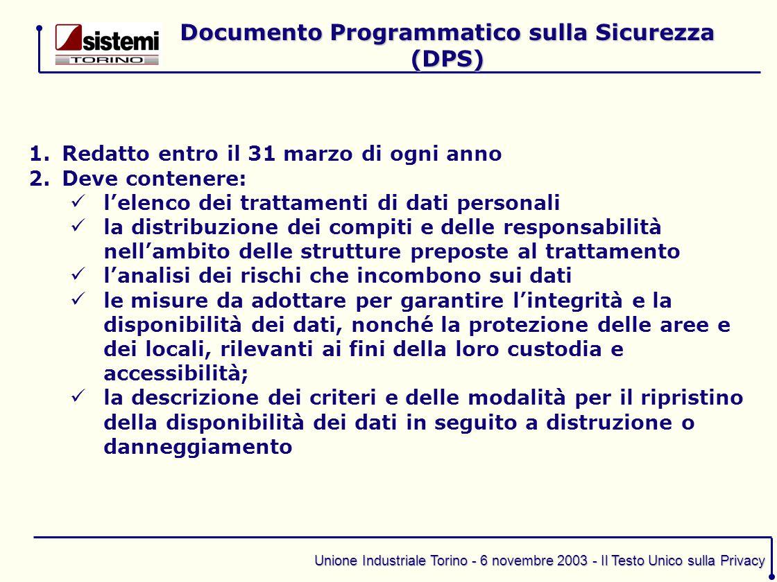 Documento Programmatico sulla Sicurezza (DPS)