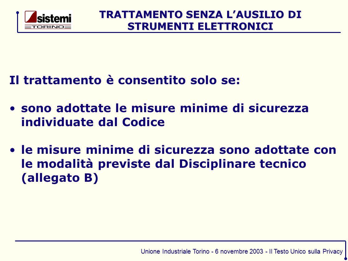 TRATTAMENTO SENZA L'AUSILIO DI STRUMENTI ELETTRONICI
