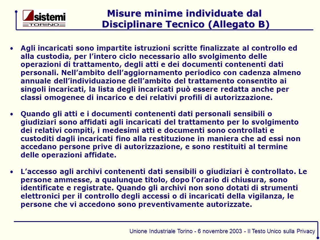 Misure minime individuate dal Disciplinare Tecnico (Allegato B)