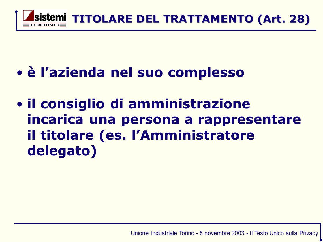 TITOLARE DEL TRATTAMENTO (Art. 28)